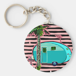 Retro Camper in Pin and Turquoise Keychains