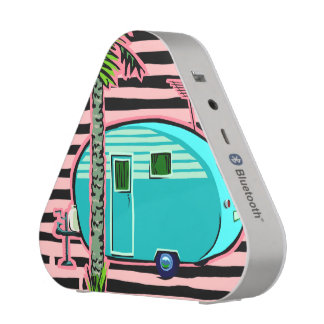 Retro Camper in Pin and Turquoise Bluetooth Speaker