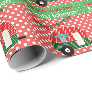 Retro Camper Partyware Red Green Personalized Wrapping Paper