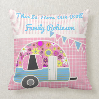 Retro Camper Pink Blue Personalized Throw Pillow