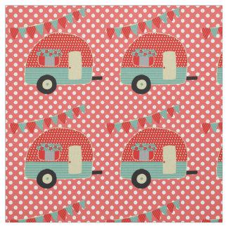 Retro Camper Red Aqua Polkadot Pattern Fabric