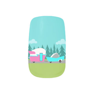 Retro Camper / Trailer and Car Nail Stickers