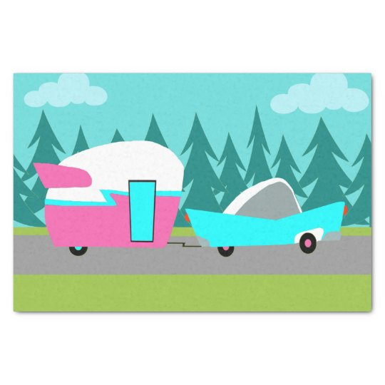Retro Camper / Trailer and Car Tissue Paper