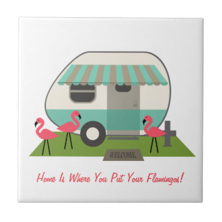 Retro Camper With Flamingos Tile