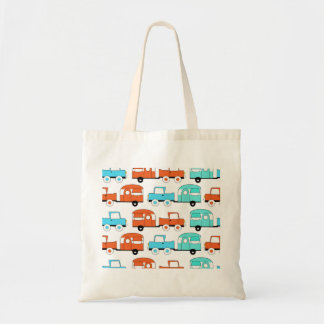 Retro Camping Trailer Turquoise Orange Vintage Car Tote Bag