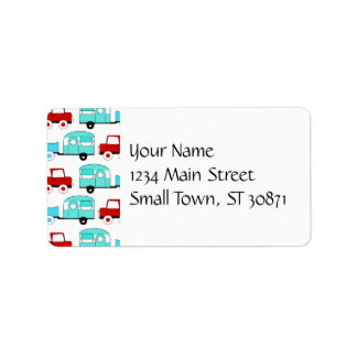 Retro Camping Trailer Turquoise Red Vintage Cars Label