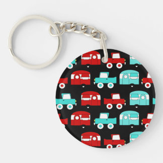 Retro Camping Trailer Turquoise Red Vintage RV Double-Sided Round Acrylic Keychain