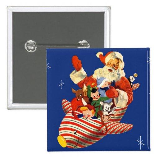 Retro Candy Rocket Santa Button
