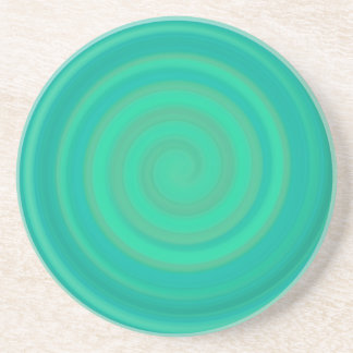 Retro Candy Swirl in Kiwi Teal Coaster