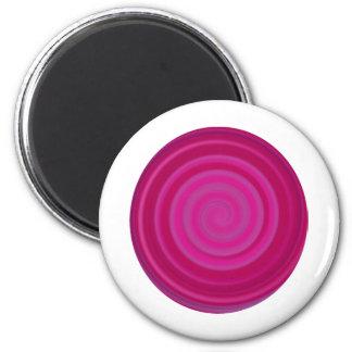Retro Candy Swirl in Plum 2 Inch Round Magnet