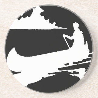 Retro Canoe Silhouette Coaster