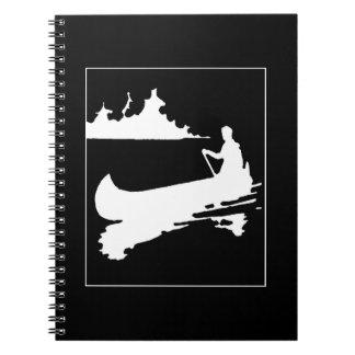 Retro Canoe Silhouette Spiral Notebook