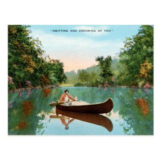 Rétro canoë vintage de carte postale de voyage de