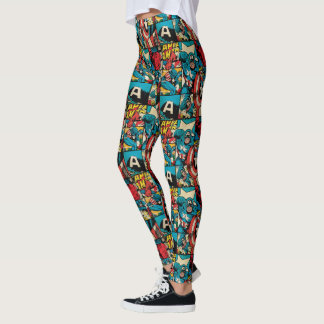 Retro Captain America Comic Book Pattern 2 Leggings