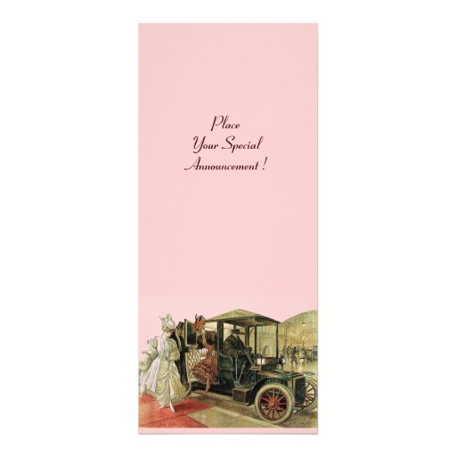 RETRO CAR , AUTO RESTORATION 2,red yellow pink Invitation