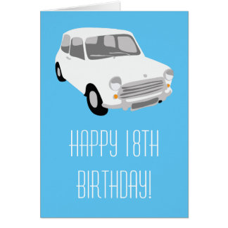 Retro Car Happy 18th Birthday Card