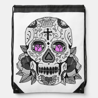 Retro Carnival Steampunk Sugar Skull Any Color Drawstring Bag