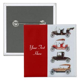 RETRO CARS 2- Auto repair automotive ,red 2 Inch Square Button