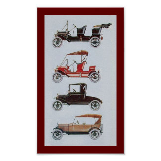 RETRO CARS , black white red Poster