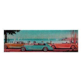 RETRO CARS , blue green pink red Poster