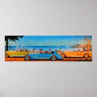 RETRO CARS , blue yellow orange Poster