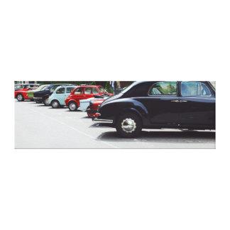 Retro cars exhibition canvas print