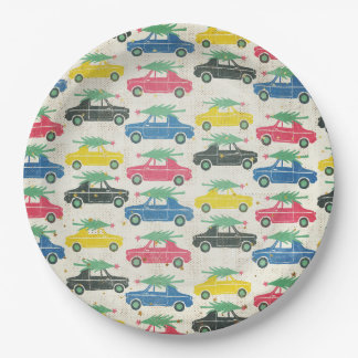 Retro Cars with Christmas Trees on Top Paper Plate