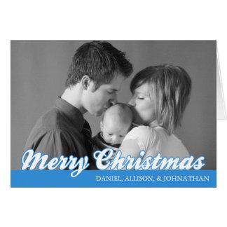 Rétro carte de Joyeux Noël de manuscrit bleue