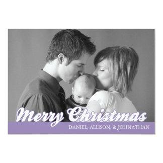 Rétro carte de Joyeux Noël de manuscrit (pourpre) Faire-part Personnalisables