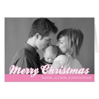 Rétro carte de Joyeux Noël de manuscrit rose