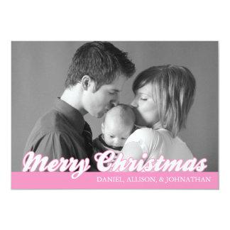 Rétro carte de Joyeux Noël de manuscrit (rose) Cartons D'invitation