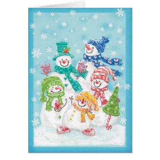 Rétro carte de Noël de bonhomme de neige heureux