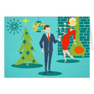 Rétro carte de Noël de couples de bande dessinée
