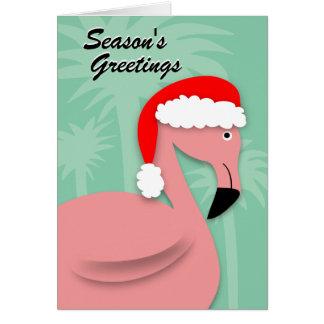 Rétro carte de Noël - flamant rose