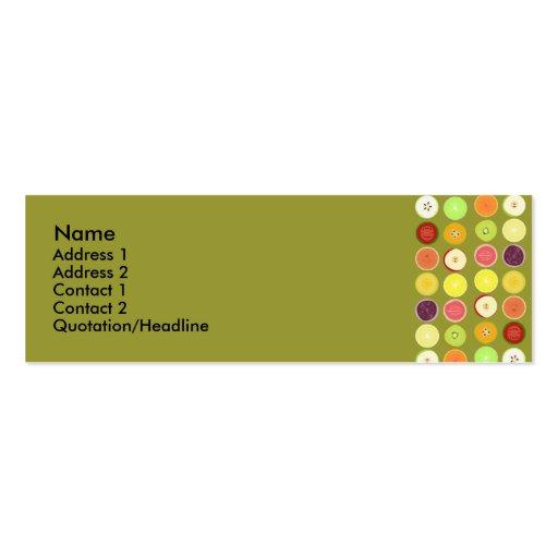 Rétro carte de profil de fruits carte de visite