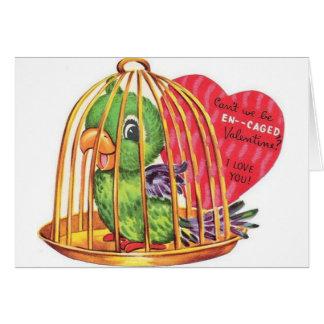 Rétro carte de Saint-Valentin de perroquet de fian