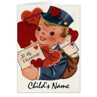 Rétro carte de Valentine pour des enfants