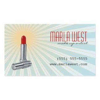 Rétro carte de visite de maquilleur de rouge à lèv