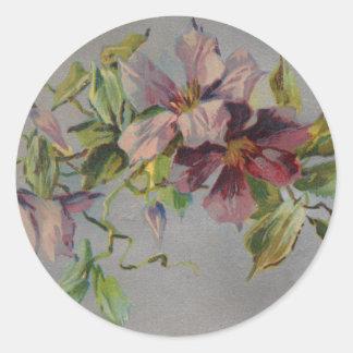 Rétro carte postale pourpre vintage d'iris autocollants ronds