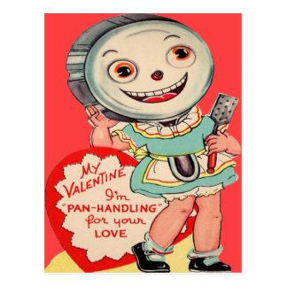 Rétro carte vintage de Valentine de poêle Carte Postale