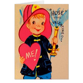 Rétro carte vintage de Valentine de pompier de gar