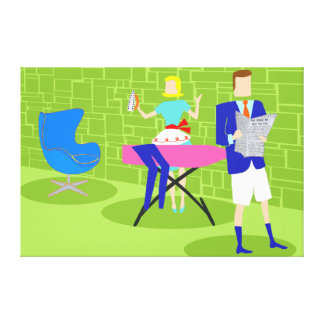 Retro Cartoon Couple at Home Stretched Canvas Canvas Prints