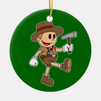 Retro Cartoon Geologist (Color) Ceramic Ornament