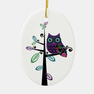 Retro Cartoon Owl in His Funky Tree Ceramic Ornament