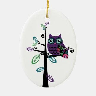 Retro Cartoon Owl in His Funky Tree Ceramic Oval Ornament