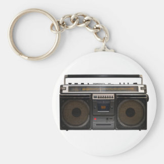 retro cassette player music hipster stereo tape basic round button keychain