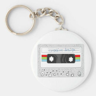 Retro cassette tape 80s style basic round button keychain