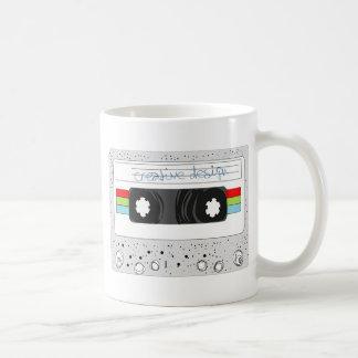 Retro cassette tape 80s style basic white mug