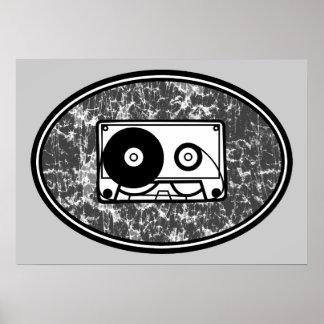 Retro Cassette Tape Black & White Poster
