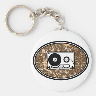 Retro Cassette Tape Orange Basic Round Button Keychain